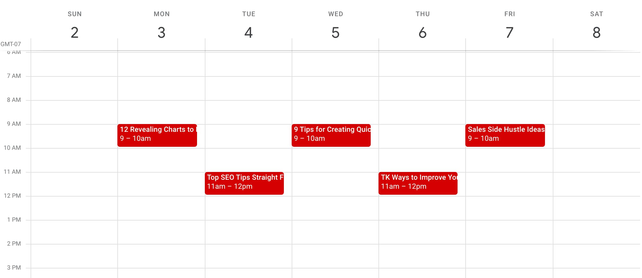 Image of an editorial calendar in Google Calendar made from a template