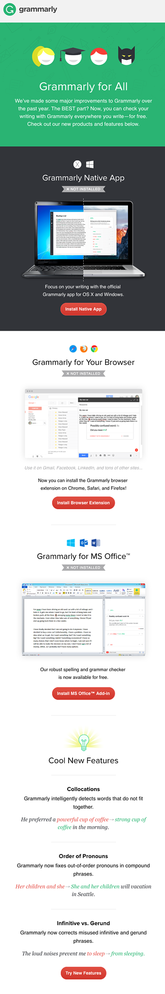 Grammarly features email