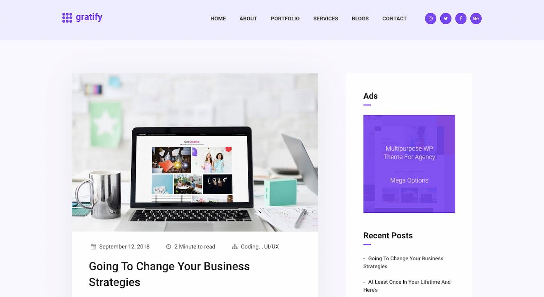 Gratify theme for WordPress community sites built with BuddyPress