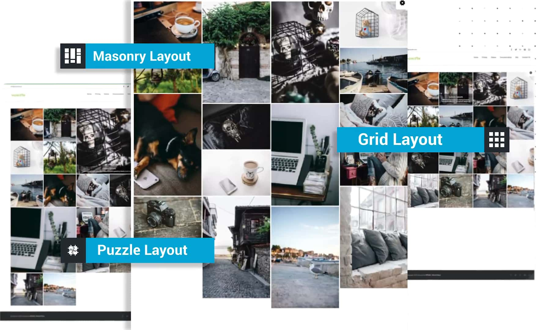 Grid, Puzzle, and Masonry layout demos created with Grid Kit Portfolio Gallery plugin for WordPress