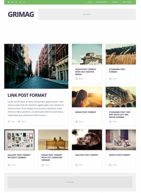 Grimag Magazine wordpress theme demo with advertising space