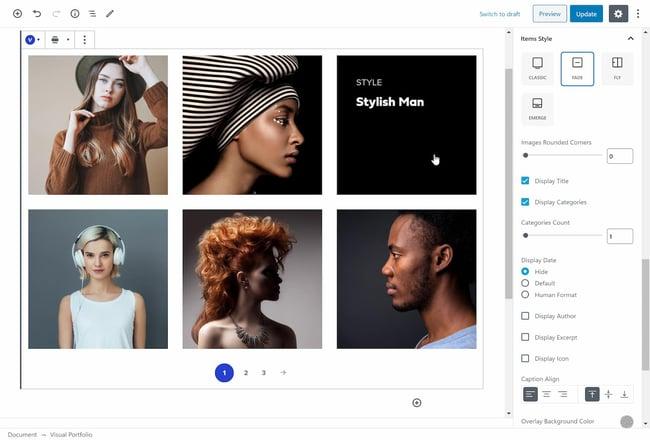 Gutenberg block settings for creating a portfolio with Visual Portfolio, Photo Gallery & Posts Grid plugin for WordPress