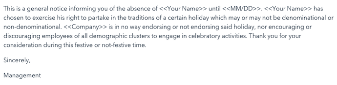 The Sensitivity Template out of office email