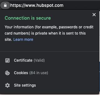 HubSpot SSL certificate padlock.