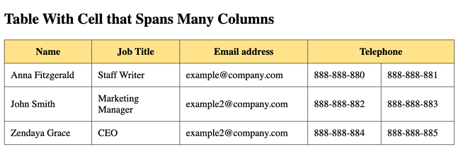 HTML table example of contact information with cell spanning multiple columns-1