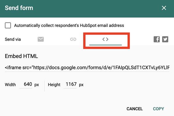 HTML code to add Google Forms WordPress