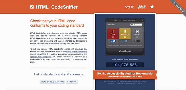 HTML_CodeSniffer is a web accessibility testing tool designed specficially for HTML source code
