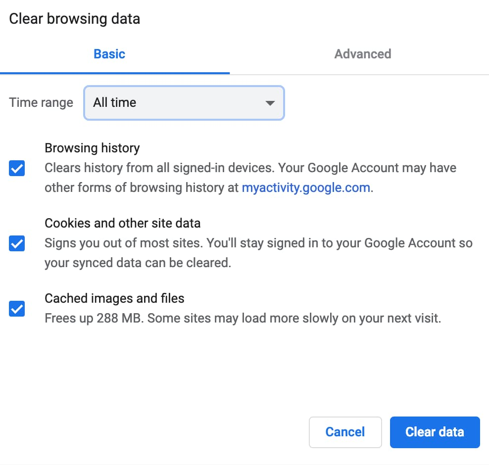 Clearing cached images and files on Google Chrome.