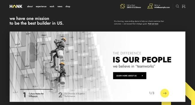 Hank theme demo of construction company website on WordPress