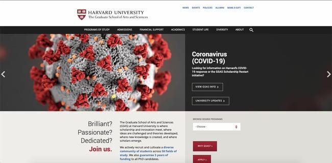 Harvard University site built with the WordPress CMS alternative Joomla