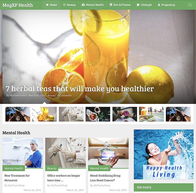 Health demo of best content sharing WordPress theme MagXP