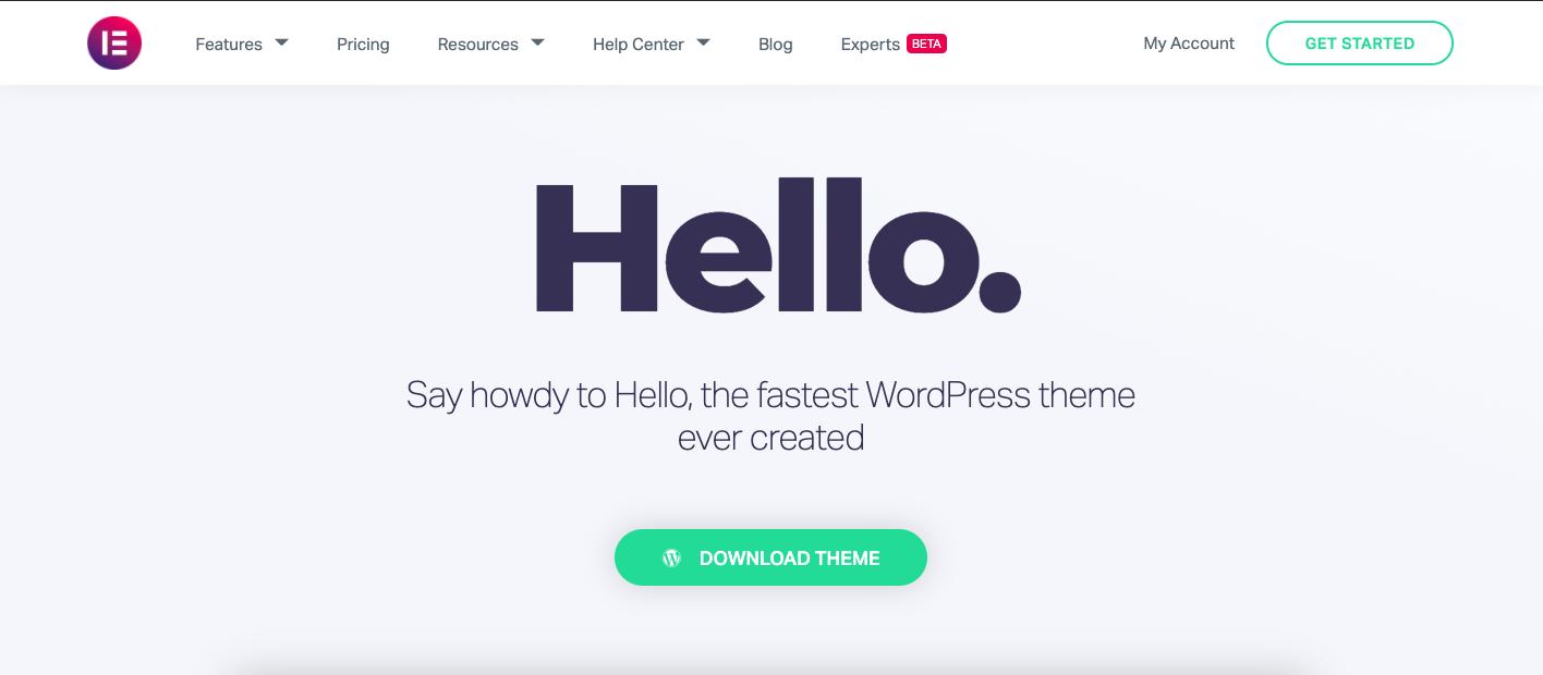 Hello elementor theme with sticky header menu