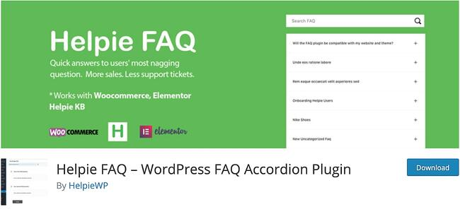 Green background for Helpie FAQ plugin download by Helpie WP