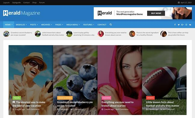 Herald Magazine them featuring a slider of blog posts with affiliate links
