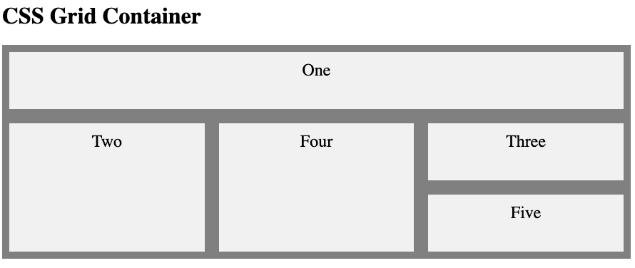 CSS grid container example