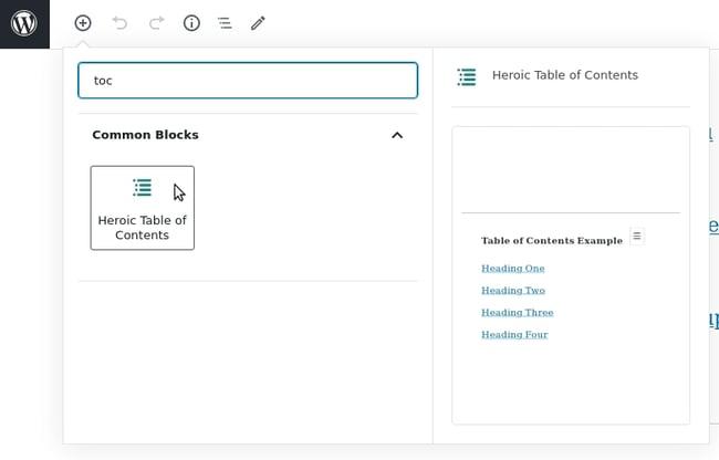 Heroic ToC example in WordPress