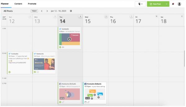 Hootsuite's content calendar in Hootsuite Planner
