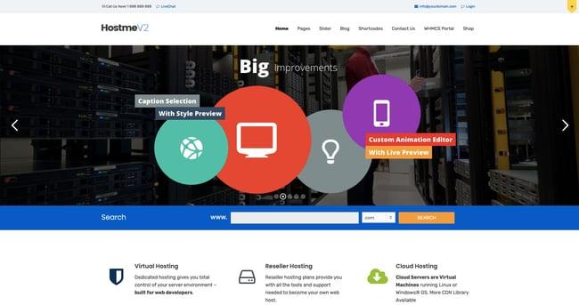 Hostme v2 WordPress theme demo for a web hosting company site