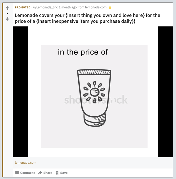 Promoted Content from Lemonade on Reddit