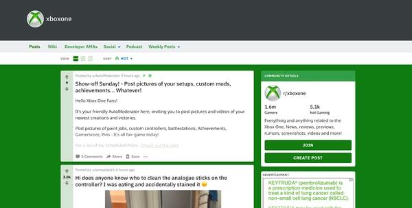 User Generated XBox subreddit where Xbox reps participate in discussion