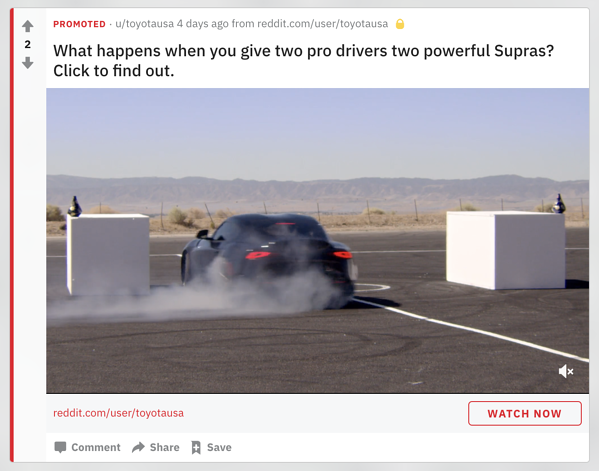 Toyota promoted content on Reddit