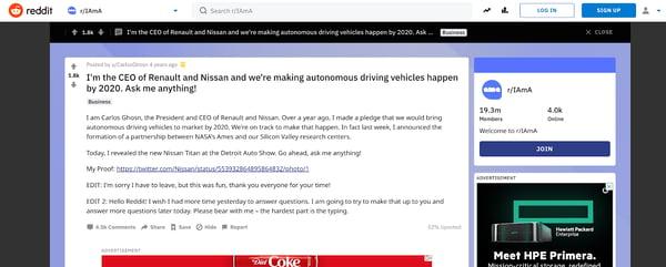 Nissan AMA on Reddit