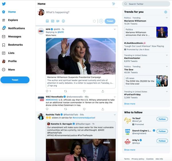 Twitter feed in 2020