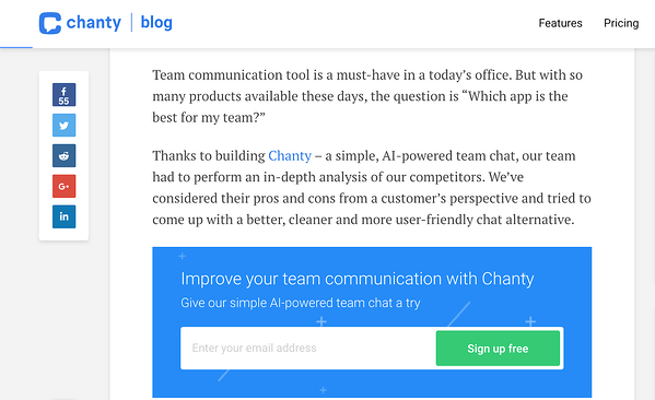Chanty includes CTAs in blog post.
