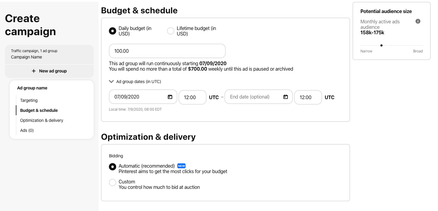 budget, schedule, and deliver pinterest ads
