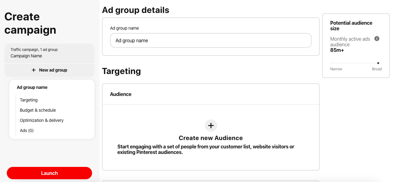 Define the ad target group in pinterest