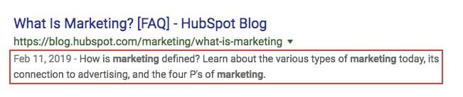 Metadescription of HubSpot blog includes keyword three times