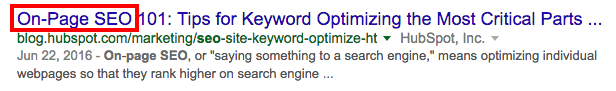 "Lengthy title with front-loaded keyword ""on-page SEO"" shown in SERP"