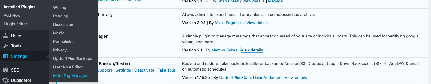 Click Settings > Meta Tag Manager to start adding meta tags