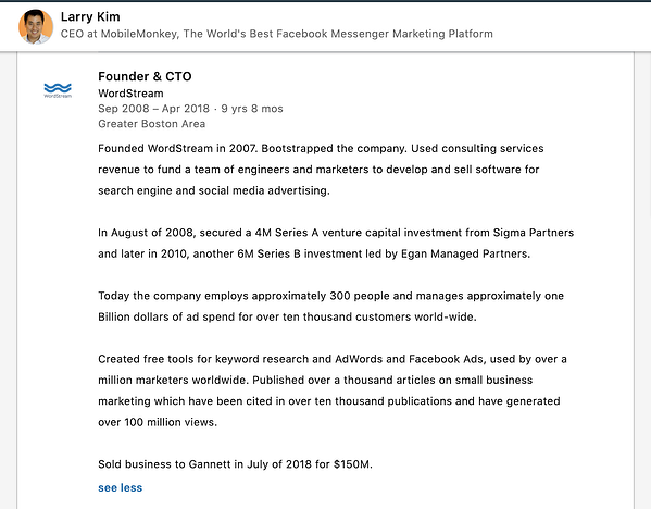 Larry Kim's job description on LinkedIn