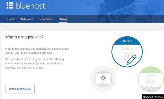 the staging site wizard page in Bluehost