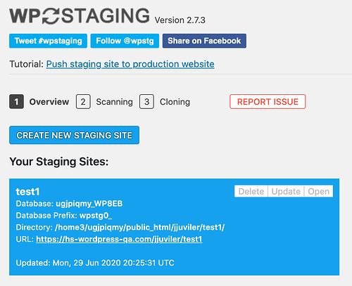 the main menu in the WP Staging WordPress plugin