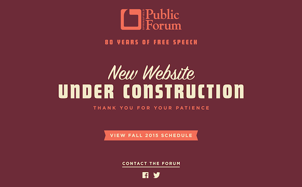 website under construction page with a minimalist layout