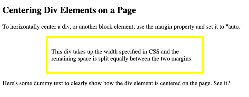 A div horizontally centered on the page in W3Schools's Tryit Editor