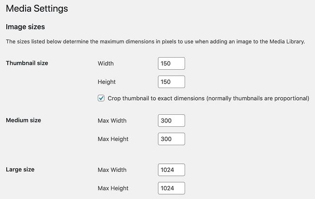 wordpress featured image size: change image size in media settings