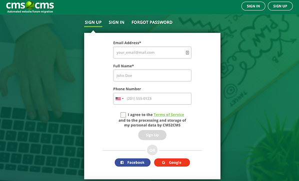 Create CMS2CMS account to begin converting Wix to wordPress