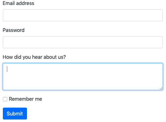 bootstrap form with text area example