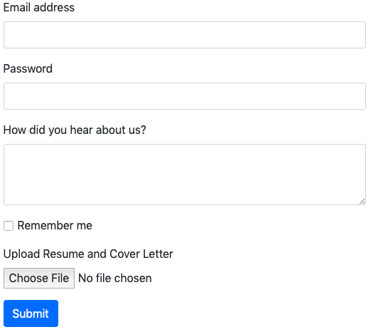 bootstrap form with attachment example