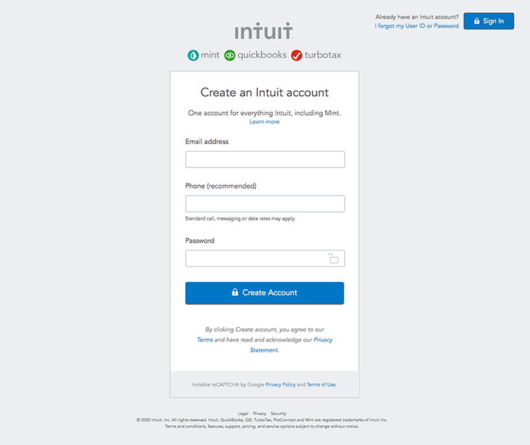registration form examples intuit
