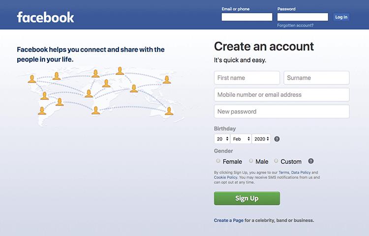 registration form examples facebook