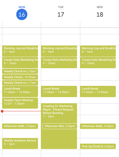 lump meetings within the same span of days on Google calendar
