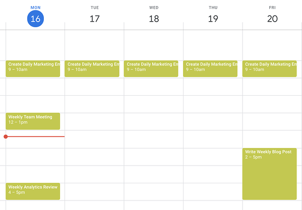 blocking time for regular tasks in google calendar