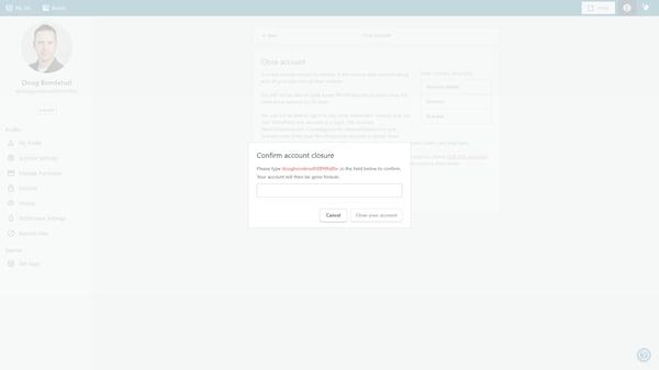 Confirm close account in WordPress.