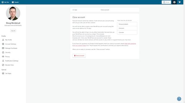 Warning on WordPress Close Account page.
