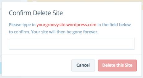 Confirm delete site on WordPress.