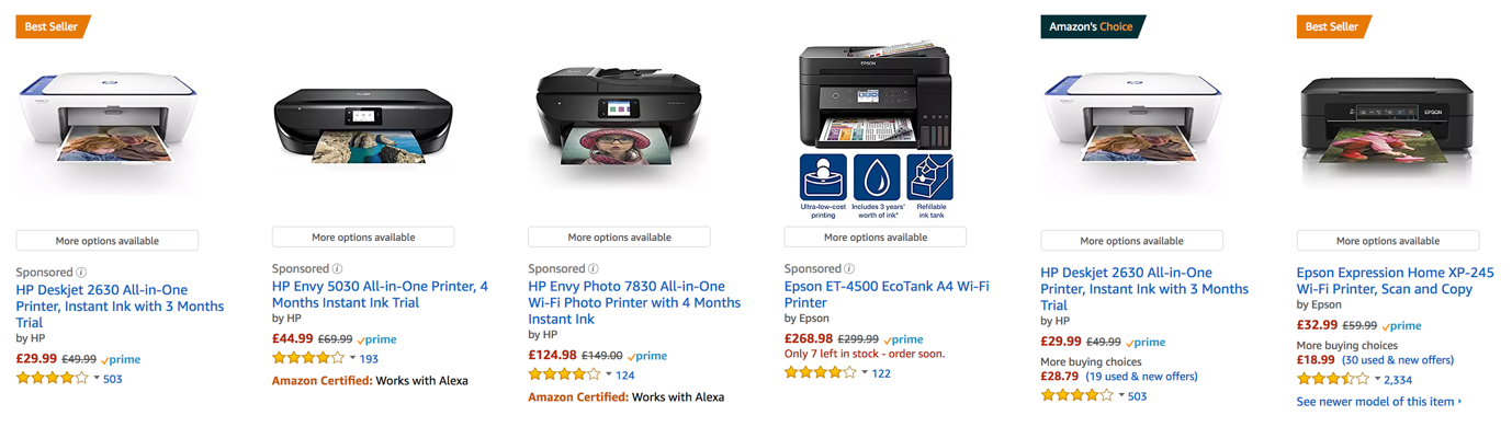 Amazon example for customer ratings next to products